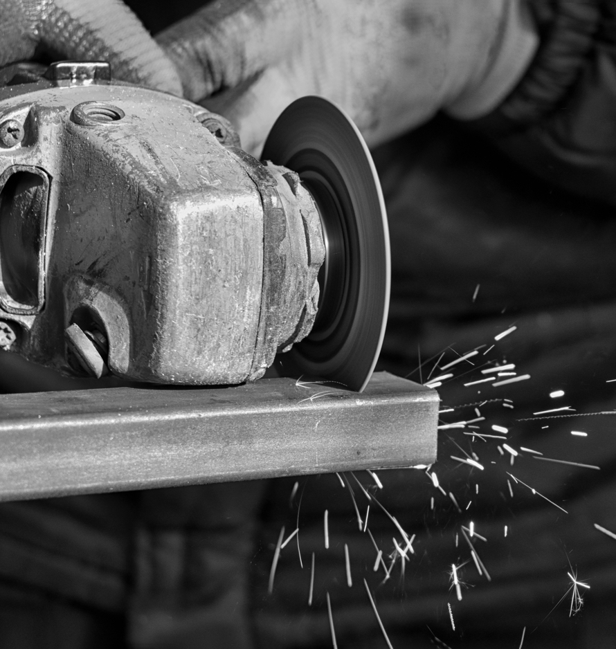 Steel being cut by saw
